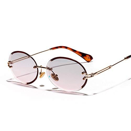 Gafas de Sol sin Montura de Las Mujeres Matel Oval Frame Gradient Gafas de Sol Sombras Sombras Damas Gafas al Aire Libre Pesca Golf Caballo Cose Gose Riding-Rosa