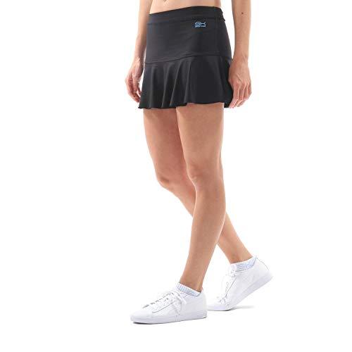 Sportkind Mädchen & Damen glockiger Tennis, Hockey, Sport Skort, Rock mit Innenhose, atmungsaktiv, UV-Schutz, schwarz, Gr. XXL
