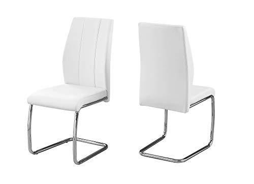 BESTSOON - Juego de sillas de comedor (2 piezas, cómodas, curvadas, de piel sintética, con patas de metal cromado, moderno, para comedor, sala de estar, cocina