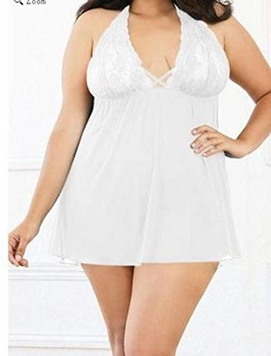 CHBY Monos de Mujer Lenceria Sexy Pijama Sexy de Malla Transparente para Mujer de Gran tamaño, Encaje Sexy, Cuello Colgante, lencería Sexy-White_L