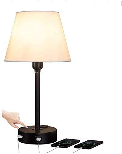 QTWW Lámpara de Mesa de Noche con Control táctil con 2 Puertos de Carga USB Lámpara de Escritorio para dormitorios Modernos con Pantalla de Tela Lámparas de Lectura de Estudio para Sala de Estar