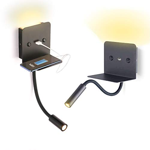 BarcelonaLED Applique murale LED en aluminium noir pour lecture 6 W avec spot flexible 3 W blanc chaud orientable et base de charge USB pour chambre, lit, tête de lit