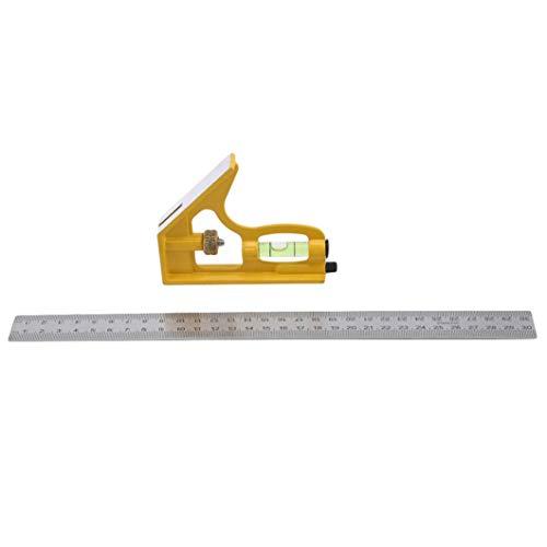 SJHFG Regla cuadrada de la combinación de la regla del ángulo 45/90 grados con el nivel de la burbuja Machinist enseñanza calibre herramientas de medición