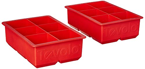 """Tovolo Inch Large King Craft Ice Mold Freezer Tray of 2"""" Cubes for Whiskey, Bourbon, Spirits & Liquor Drinks, BPA-Free Silicone, Set of 2, Candy Apple"""