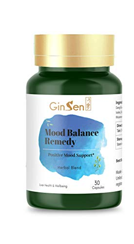 GinSen Strong Mood Remedy for Stress and Anxiety, PMS, PMT, Non Drowsy,Herbal and Natural Supplement, Traditional Chinese Medicine (30 Capsules)