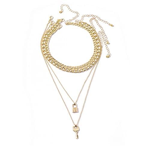 BigBigHundred Collar de llave de bloqueo de aleación de múltiples capas para mujer Colgante de moda Collar de cadena jerárquica Regalo de joyería de estilo callejero - Oro