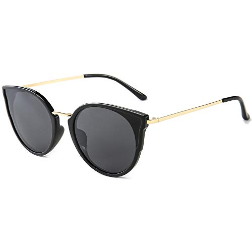 SUNGAIT Mujeres Ojo de Gato Polarizadas Vintage de Gran Tamaño UV-Protección Gafas de Sol(Acabado Brillante Del Marco de Lente Negro/Gris)