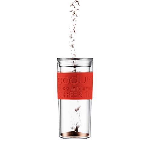 BODUM ボダム TRAVEL PRESS SET トラベルプレスセット フレンチプレス コーヒーメーカー (タンブラー用リッド付き) プラスチック 350ml レッド 【正規品】 K11102-294