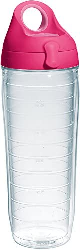 Tervis Clear Colorful Insulated Tumbler with Passion Pink Lid 24 oz Water Bottle Tritan Clear product image