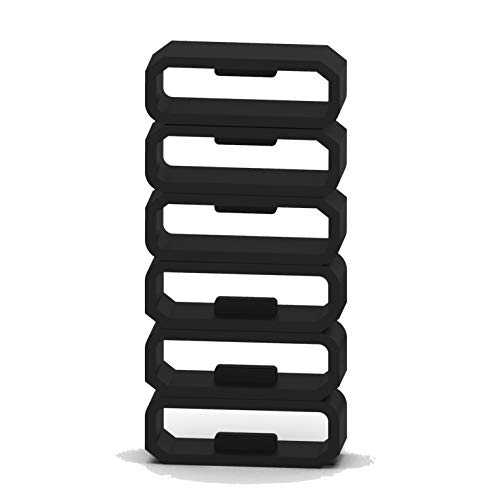 6-Pack Band Keepers Compatible with Garmin Vivosport/Vivosmart HR&HR+/Approach X10&X40 Bands Silicone Fastener Rings Security Loop/Holder/Retainer (Black-A)