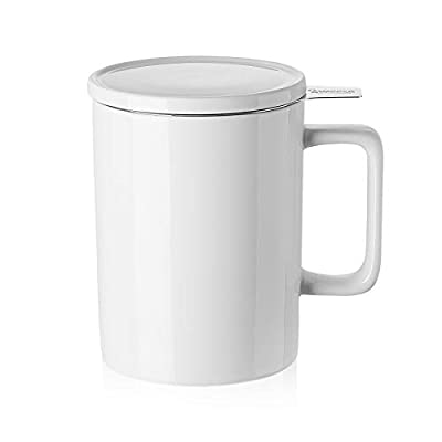 Sweese 205.101 Porcelain Tea Mug with Infuser and Lid - 14 OZ, White