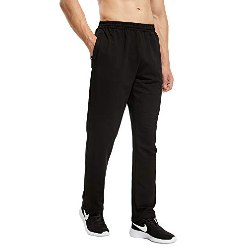 LUWELL PRO Jogging Hommes Pantalon de Sport Jogger Homme Survêtement Coton Slim Fit(1705-Black-L)