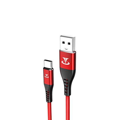 Esishang. HH- 1.0m Micro a USB V0 TPE Alto elástico Cable de Datos (Rojo) (Color : Red)