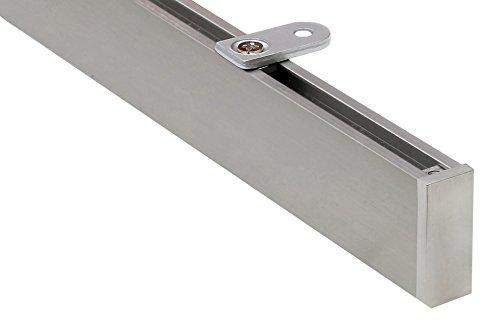 dekoline Eckige 2,20 m Vorhangschiene, alle Längen bis 4,60 m möglich, Gardinenschiene, Gardinenstange, Innenlaufschiene, Gardinenleiste, Deckenmontage, modern, edelstahlfarbig, 1-Lauf - ungeteilt
