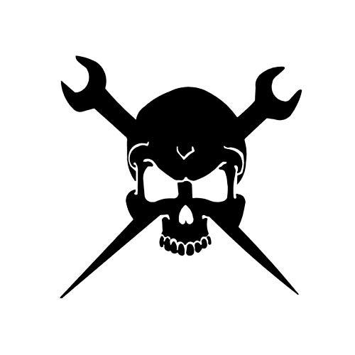 Bonitos pegatinas 14.2cmx14.5cm Llaves Skull Etiqueta engomada del coche Decor Coche Estilismo Calcomanía Negro/Plata Sticker de carro (Color : Black)