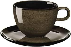 ASA 25413250 Lot de 2 tasses à café avec soucoupes en acier inoxydable EKM Living 0,25 l