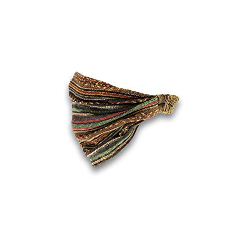 KUNST UND MAGIE unisex Hippie Kopfband Stirnband Goa Yoga Stonewashed, Farbe:Braun/Orange