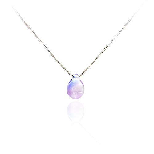HUNO Romantic Mermaid Tears Necklace Ocean Sea Necklace Invisible Transparent Fishing Line Water Drop Pendant for Girls-Box Chain Blue Purple