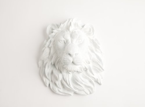 White Faux Taxidermy The Walter | White Resin Lion Head | Resin Hanging Wall Decor Sculpture | Animal Mounts | Trophy Taxidermy