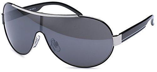 FEINZWIRN sportliche Sonnenbrille Novara mit Verlaufsglas und Monoscheibe + Brillenbeutel - Sonnenbrillen (schwarz-ohne-Verlauf)