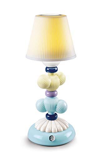 LLADRÓ Lámpara De Mesa Firefly Cactus. Amarillo Y Azul. Lámpara de Porcelana.