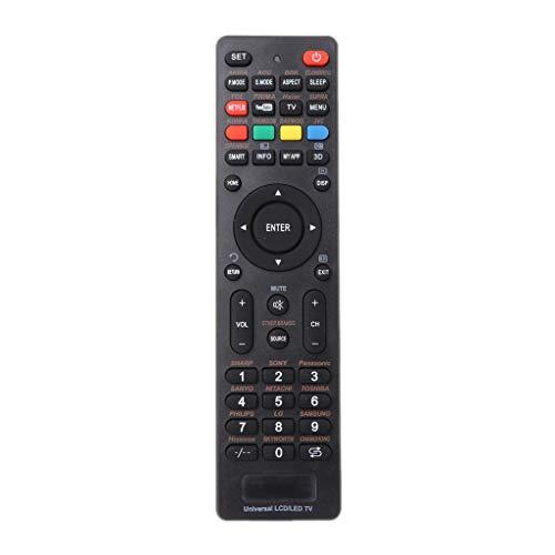 BASSK - Telecomando di ricambio per telecomando TV universale per Sony Philips LG Samsung Vizio Supra BBK Izumi Panasonic Hitachi Akai con tasti Netflix