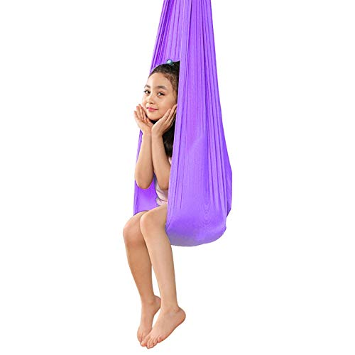 ZCXBHD Columpio Terapia Hamaca De Sensorial Yoga Aérea con Capacidad Carga 200Kg para Autismo ADHD Aspergers e Integración Sensorial Hamacas (Color : Light Purple, Size : 150x280cm/59x110in)