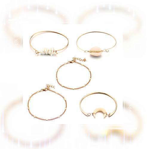 5 pièces de Simple Bracelet en argent et or ensemble pour les femmes et les filles mignonne charme Shell Bracelet petit charmant exquis main Bracelet Taille réglable