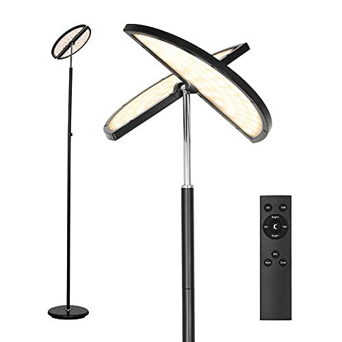 Linkind Lámpara de pie LED de 24 W, 225 ° ajustable, 5 niveles de temperatura de color y brillo, mando a distancia e interruptor controlables, función de memoria, lámpara de lectura para salón