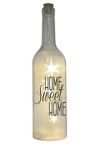 WB wohn trends LED-Flasche mit Motiv, Home Sweet Home, grau, 29cm, Flaschen-Licht Lampe mit Text Spruch