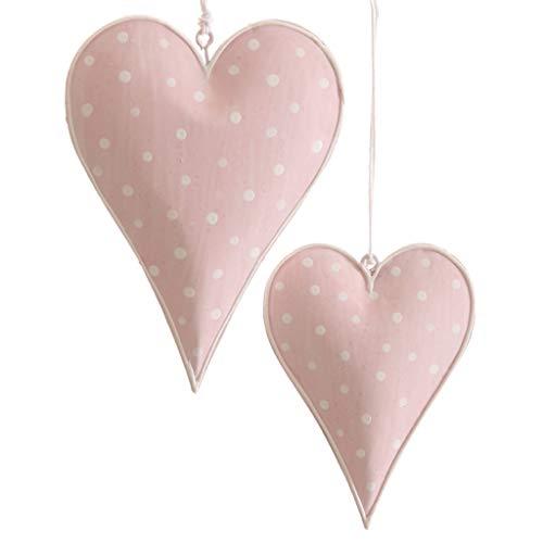 Metallherzen Herzen zum Aufhängen - Herzanhänger aus Metall - Dekoherzen - Dekoration - Vintage - Shabby Chic - 1 VE = 2 Stück - ca.7.5 x 10 cm Rosa mit weißen Punkten - AD68370