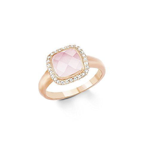 Noelani Damen-Ring Zirkonia Glasstein rosévergoldet weiß