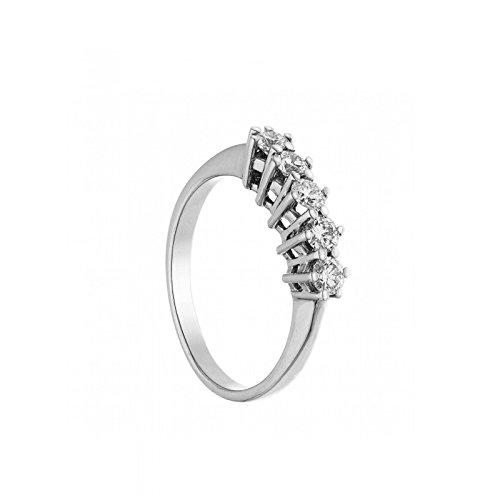 anello veretta riviera in oro bianco 18 kt diamanti taglio brillante complessivi carati 0,15 colore g taglio excellent misura 14