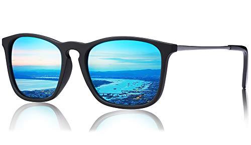 Carfia Vintage Polarisierte Sonnenbrille für Damen Herren UV400 Schutz Ultraleicht Rahmen (Herren-Rechteckig/blau)