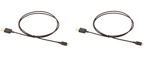 Amazon Basics Verbindungskabel, USB 2.0, USB-A-Stecker auf Micro-USB-B-Stecker (2 Stück), 0,9 m, Schwarz