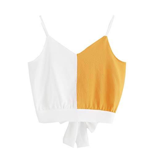 Dicomi Fashion Women Casual Camis Patchwork Sleeveless V-Neck Tie Back Color Block Tops Yellow