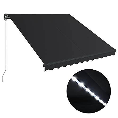 Festnight Luifel handmatig uitschuifbaar met LED zonnescherm met zonnescherm Tuinterras Luifel Luifel Gazebo Multi-streep met 350x250 cm antraciet