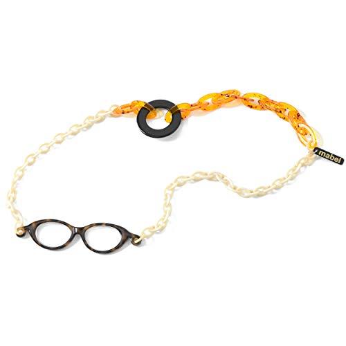 イタリア製 拡大鏡 ネックレス ペンダントルーペ 1.75倍 首掛け 眼鏡 おしゃれ 軽量 べっ甲 ホワイト イエロー 白 黄色
