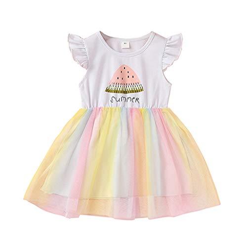 Vestido de Niña Bebé Princesa Fantasía Tutú niñas sin Mangas Mangas voladoras sandía Letra Impresa Vestido de Gasa Neta Vestido de Princesa