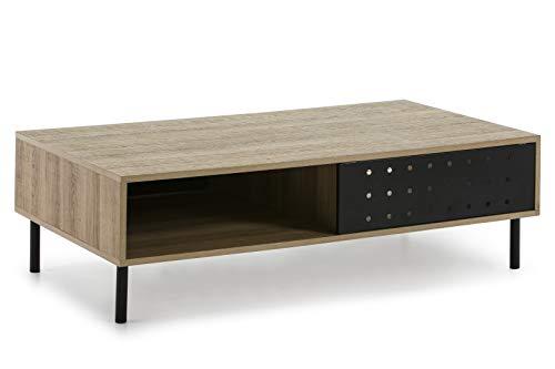 VS Venta-stock Tavolino Brooklin 1 Ports in Metallo Nero, Struttura Color Legno e Gambe in Metallo, Larghezza 110 cm x profondità 60 cm x Altezza 34 cm