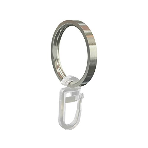 Flairdeco Gardinenringe / Ringe mit Faltenhaken, Metall, Edelstahl-Optik, 33/27 mm, 24 Stück