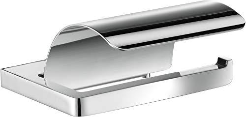 KEUCO Toilettenpapierhalter aus Metall, hochglanz-verchromt, mit Deckel, WC-Rollenhalter für Badezimmer und Gäste-WC, Moll