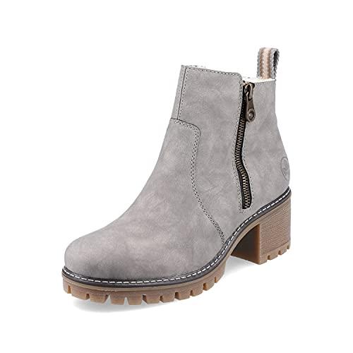 Rieker Damen Klassische Stiefeletten Y8660, Frauen Stiefeletten,Lady,Ladies,Boots,Stiefel,Booties,halbstiefel,Kurzstiefel,grau (40),38 EU / 5 UK