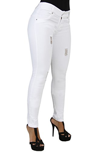 Curvify Stretch Butt Lifting Skinny Jeans | Pantalones Levantacola 600 (White D3-11)