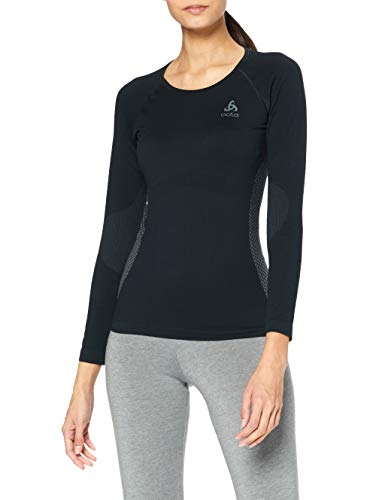 Odlo 159041 T-Shirt à Manches Longues Femme Black/Odlo Graphite Grey FR : M (Taille Fabricant : M)