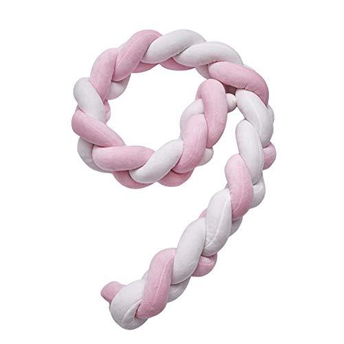 DC CLOUD Borde De La Cama Cuna De Bebé Parachoques Nido De Bebé Borde De La Cama Cama SúPer Suave Serpiente Nido Trenzado Serpiente Adecuado para Cuna Pink White