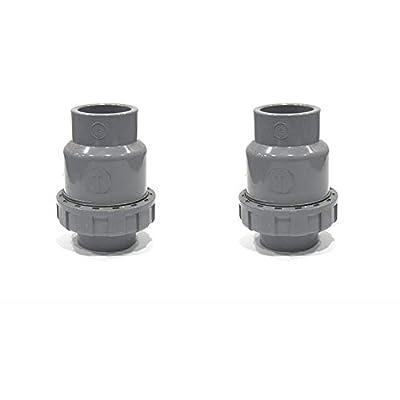 SHMONO 1'' PVC Check Valve, Ball-Type Control Devices, Single Union Ball Check Valve, Socket - 2 Pack [Available 3/4'',1.25'',1.5'',2''] from SHMONO
