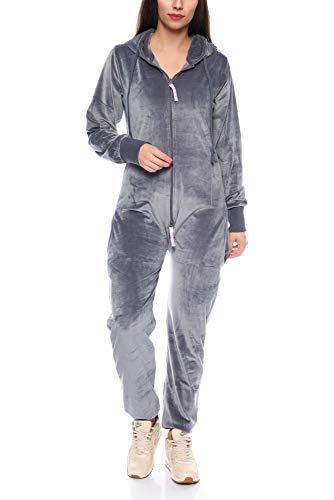 Crazy Age Damen Jumpsuit aus Samt (Nicki, Velvet) Wohlfühlen mit Style. Elegant, Kuschelig, Weich. Overall, Ganzkörperanzug, Jogging - Freizeit Anzug, Onesie (Anthrazit, XXL)