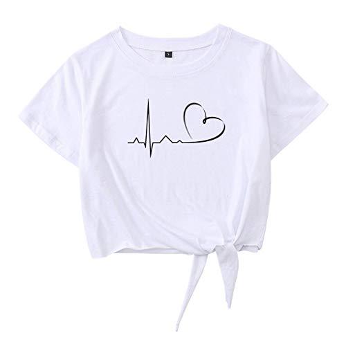 Crop Tops Damen Sommer, Teenager Mädchen Herzschlag Herz Tie Up Bauchfrei Oberteile Mode Love You Casual Sport Baumwolle Blusen Shirt Hemd Kurzes Tank Top Frauen Kurzarm T-Shirt Sale (A-Weiß,M)