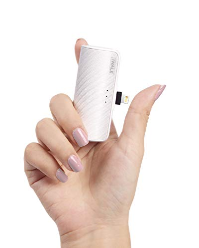 iWALK Mini Portable Charger for iPhone with Built in Cable[Upgraded], 3350mAh Ultra-Compact Power Bank Samll Battery Pack Charger Compatible with iPhone 12/12 Mini 11 Pro/XS Max/XR/8/7 Airpods, White
